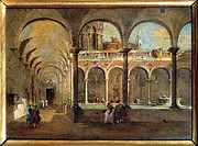 Francesco Guardi (1712-1793), The Friars' Cloister in Venice.  Bergamo, Galleria D'Arte Moderna E Contemporanea (Modern Art Museum)