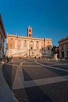 Michelangelo´s Piazza del Campidoglio and Palazzo Senatorio, Rome, Italy