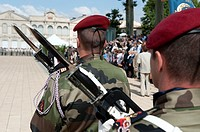 3° RPIMA Regiment parachutiste infanterie de marine during the French commemoration of the national holiday on july 14 2011, at the Gambetta place, Ca...
