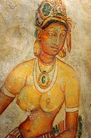 unique Frescoes of woman with bare breasts at the ancient rock fortress of Sigiriya, Sri Lanka, Asia