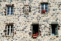 Facade of a traditional stone house  Goudet, Auvergne region, France