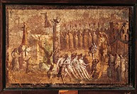 ROMAN PAINTING, THE TROJAN HORSE, Frescoes from Pompeii  Naples, Museo Archeologico Nazionale (Archaeological Museum)