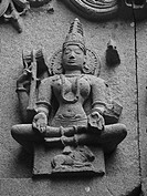 Carved statue of Lord mahadeva in Woman form on a wall of Bhuleshvar Temple, Yawat, Maharashtra, India