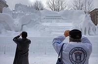 Visitors,Sapporo snow festival, snow sculpture,Odori Park,Sapporo, Hokkaido, Japan