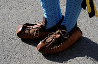 Asturian traditional footwear known as coryza, Spain