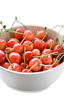 Bowl of cherries, close_up