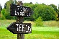 landscape image indicators at Tee 16 and dropping zone on the golf Larrabea in Alava, Basque Country, Spain