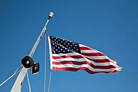American flag flying on the Lady of the Lake II, Lake Chelan - Chelan County, Washington