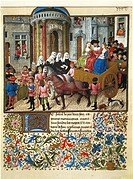 Giovanni Boccaccio (1313-1375). Teseida the wedding of Emilia (1339-1341). Theseus in Athens. Thumbnail.  Vienna, Österreichische Nationalbibliothek (...