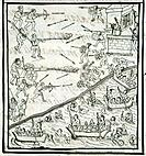 MEXICO: SPANISH CONQUEST. /nBattle between Spanish conquistadors and Aztec warriors at Xolloco, Mexico. Drawing from the Codex Florentino, compiled by...