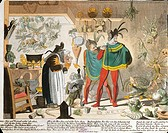 Germany, 19th century. Illustration representing Mephistopheles in a scene from Goethe's Faust.  Vienna, Historisches Museum Der Stadt Wien (History M...