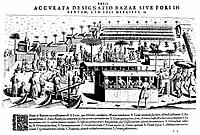JAVA: BANTAM MARKET, c1607. /nMarketplace with Indian and Portuguese traders at Bantam, Java, Indonesia. Copper engraving by Theodore de Bry, c1607.