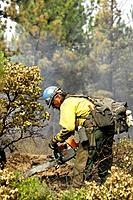 Wildland fire fighter with chainsaw