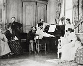France - 19th century - Claude Debussy en famille with the Chaussons at their Luzancy house, 1893  Saint-Germain-En-Laye, Musée Claude Debussy (Debuss...