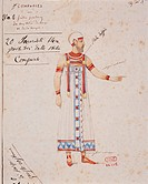 Giuseppe Verdi (1813-1901), Aida, 1871. Costume sketch for an extra by Auguste Mariette (1821-1881) for the Premiere at Khedivial Opera House in Cairo...