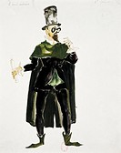 Giuseppe Verdi (1813-1901), Falstaff, 1893. Costume sketch for Cajus by Jean Aujame (1905-1965) for the performance at Paris, Opera Comique, May 16, 1...