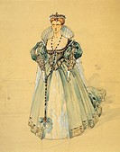 Italy, Milan, Costume sketch for Laura in La Gioconda by Amilcare Ponchielli