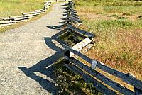 Split rail fence and path
