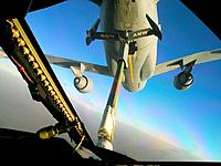 A KC-10 Extender from the 908th Expeditionary Air Refueling Squadron refuels another KC-10 Feb  1, 2010, over Afghanistan, during Operation Enduring F...