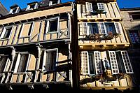 Typical houses of Quimper with half-timbered  Finistere department, Brittany region, France