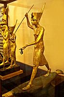 A Golden Statue of king Tutankhamun, The King as Harpooner, New Kingdom, Egyptian museum