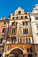 Storch House in the Old Town Square, Old Town, Prague, Bohemia, Czech Republic