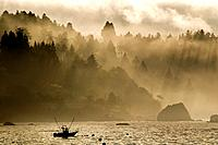Fishing boat, foggy morning, Pacific Ocean, Trinidad California USA
