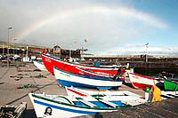 Rainbow over the fishing harbour of Vila Franca do Campo  Sao Miguel island, Azores, Portugal