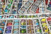 Various decorated Easter Eggs on a Prague Easter Market, Bohemia, Czech Republic