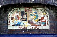 One of a series of 8 mosaics set into the wall around Aberystwyth Castle, this one depicting Charles1 Royal Mint in 1637