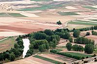 View of fields from Gormaz castle, Soria, Spain