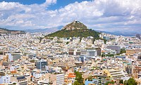 View towards Lykavittos Hill from The Acropolis, Athens, Greece