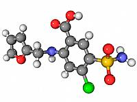 Furosemide, molecular model. This is a diuretic drug used to treat congestive heart failure and oedema water retention. Atoms are represented as spher...