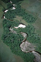 Venezuela - Guayana - Bolivar - Canaima National Park (UNESCO World Heritage List, 1994). An aerial view of a river course.
