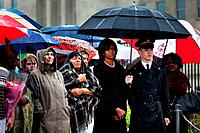Michelle Obama attends a wreath laying ceremony at the Pentagon on the rainy eighth anniversary of the 9/11 terrorist attacks. Sept. 11 2009., Photo b...