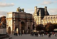 France, Paris, Arc de Triomphe du Carrousel, Tuileries Garden background Louvre