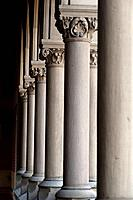 Pillars on a building at Harvard in Boston, Massachusetts, USA