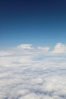 View above the clouds from airplane window, Croatia, Europe