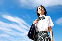Junior High School girl with shoulder bag