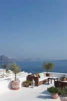 view of restaurant in Oia, Santorini, Cyclades Islands, Cyclades Prefecture, Greece, Europe