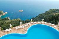 Aerial view on Paleokastritsa Palaiokastritsa bays, greek Island of Corfu Ionian Sea