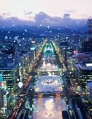 Evening View, Snow, White Ilmination, Odori Park, Sapporo, Hokkaido, Japan