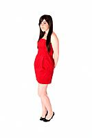 Young woman beautiful with red dress isolated on white background.