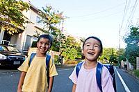 Boys smiling, Tokyo Prefecture, Honshu, Japan