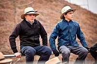 Amish boys during the Annual Mud Sale to support the Fire Department in Gordonville, PA