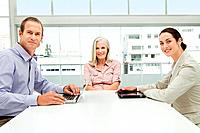 Three businesspeople meeting in office
