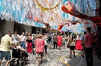 Verdi Street in August Feast, Festes de Gracia, Barcelone, Catalonia, Spain