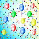 bright multicolored background with balloons, streamers and confetti