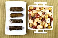 Cheese Olives and Stuffed Grape Leaves