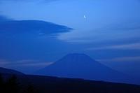 Mt. Yotei, Daybreak, Moon, Rankoshi, Hokkaido, Japan